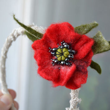 Headband Red Poppy, Unique Embroidered Wool Felt Hair Accessory, Flower Fashion Headband