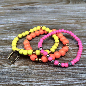 Neon Bracelets Equestrian Bracelets Stackable Bracelets Beaded Bracelets Stretch Bracelets Horseshoe Pink Orange Yellow Arm Candy Teen Gift