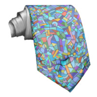 Abstract Colorful Blue Mosaic Pattern Custom Tie
