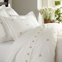Bee Embroidered Duvet Cover & Sham - Honey | Pottery Barn