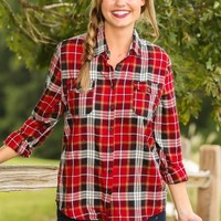 From This Moment On Plaid Blouse-Cranberry/Navy