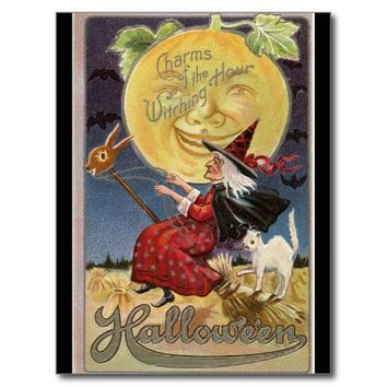 Witching Hour Moon Halloween Postcard
