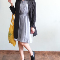 Demure vintage-inspired chambray belted shirt dress