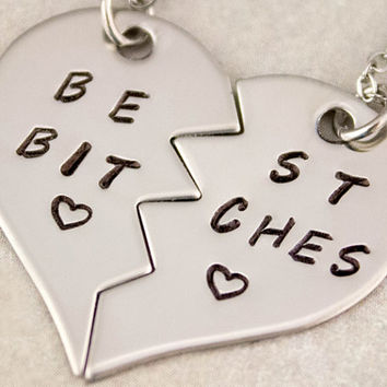 Best Bitches Necklace | Best Friend Gift | BFF Split Heart Jewelry | Best Bitches Jewelry | Hand Stamped Best Friend Jewelry | Gift For Her