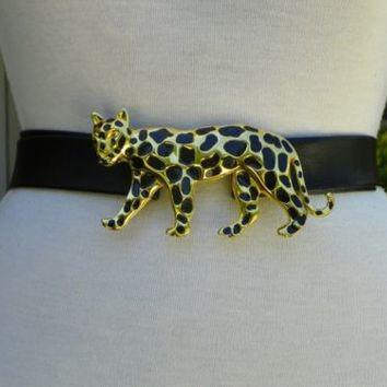 Black Belt has Gold Panther with Black Spots Really NICE! One Size Fits All!