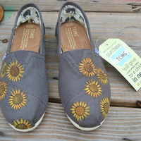 Hand Painted Toms Shoes - Sunflowers - Custom Painted Shoes