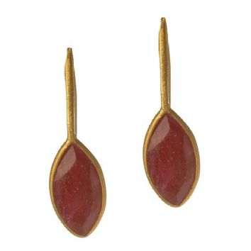 Gold Plated Earrings with Red Ropada Stone
