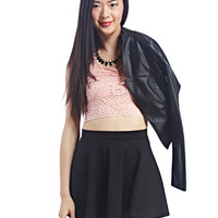 Lace Cap-Sleeve Crop Top | Wet Seal