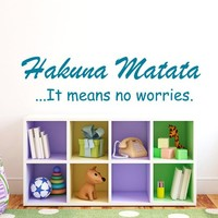 Wall Decal Vinyl Sticker Decals Art Home Decor Murals Childrens Kids Nursery Baby Decor Quote Decal Quote Hakuna Matata Letters Phrase Words Decals KV31