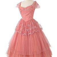 50s Coral Pink Embroidered Tulle Tea Length Prom Wedding Dress