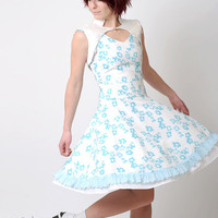 Blue floral dress - Vintage white and turquoise floral print cotton - Gabrielle party dress -  sz S-M