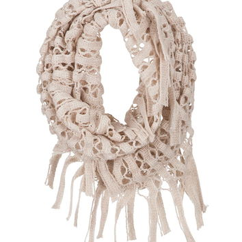 open weave infinity scarf with fringe