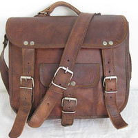 Pure Genuine 11 inches/Inch Handmade Soft Leather Mens Unisex Ipad/Messenger/Satchel Shoulder Handbags/Bags Pouch/Case For him or her