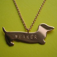 Weiner Necklace Handmade by Metal Sugar - Whimsical & Unique Gift Ideas for the Coolest Gift Givers