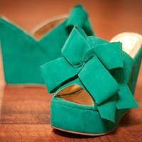 Camila-2 Oversized Bow Open Toe Wedge (More Colors)