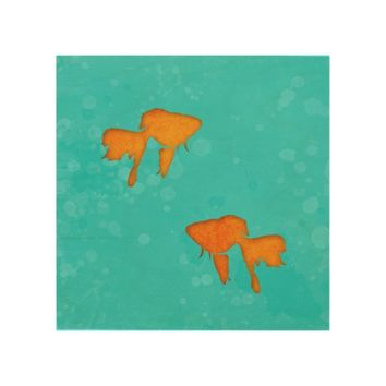 Goldfish silhouettes turquoise water Wood canvas