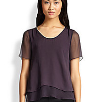 Rebecca Taylor - Chain-Trimmed Double-Tier Chiffon Top - Saks Fifth Avenue Mobile