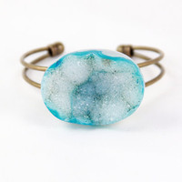 Natural Agate Geode -- Blue -- Adjustable Cuff Bracelet