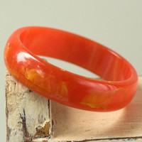 Bakelite Bangle Orange Yellow Vintage