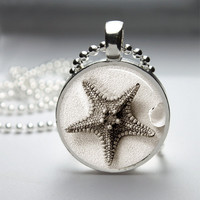 Round Glass Bezel Photo Art Pendant Beach Ocean Starfish Pendant Seashell  Necklace With Silver Ball Chain (A3819)