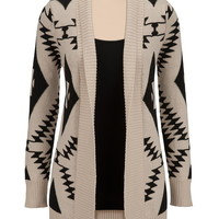 Contrast ethnic print open front cardiwrap