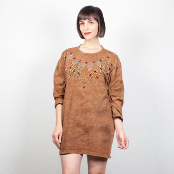 Vintage 80s Brown Tie Dye Tshirt Gold Studded Gem Beaded Mini Dress Oversized T Shirt 1980s New Wave Tunic Top Hippie L XL Extra Large XXL