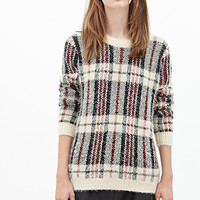FOREVER 21 Fuzzy Plaid Sweater Cream/Black