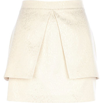 Gold metallic peplum mini skirt - mini skirts - skirts - women