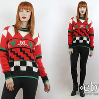 Ugly Christmas Sweater Vintage 80s Checkered Red Sweater S M Fugly Christmas Sweater Xmas Sweater Tacky Christmas Sweater Holiday Sweater