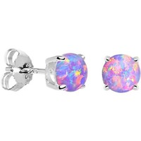 6mm Multi Round Sterling Silver Synthetic Opal Stud Earrings