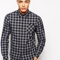 Solid Shirt In Large Gingham Check