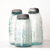 3pc Large Blue Mason Jars with Zinc & Milk Glass Lids, Half Gallons and Quart