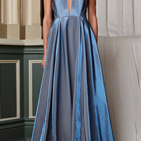 Stretch Lame Studio Gown In Blue Jean by Rosie Assoulin - Moda Operandi