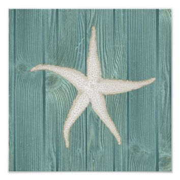 Starfish Vintage Aqua Wood Beach Poster