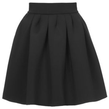 Scuba Full Pleat Mini Skirt - Black