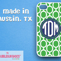 PERSONALIZED iPhone Case iPhone 4 4S iPhone 5 Phone Case - Green links Circle Geometric Blue Navy - Monogrammed iPhone Case Custom Case