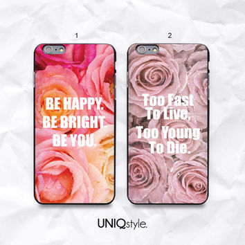 Retro rose floral flower phone case - iPhone 6, iPhone 4/4s/5/5s/5c, Samsung S4 active, S5, Note 3 - life quote vintage style cover - N43