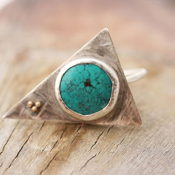 Turquoise Silver Ring, Triangle Ring, Silver Geometric Ring