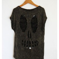 Acid Wash Skull Cut Out Shirt