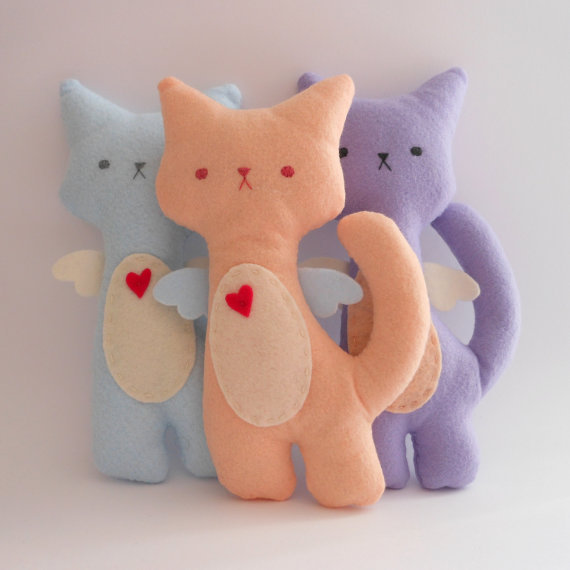 Kitty Cat Plush - Flower Set of 3 stuffed and soft toys