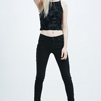 Pins & Needles Burnout Velvet Crop Top in Black - Urban Outfitters