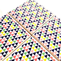Triangle Ceramic Tile Coasters Tribal Pyramid Drink Set