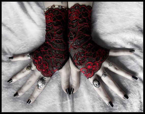 Celosia Lace Fingerless Gloves - Black Deep Red Metallic Embroidered Floral - Gothic Vampire Regency Tribal Bellydance Goth Fetish Mourning