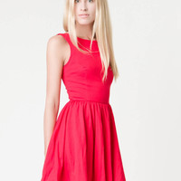Sleeveless Red Dress with High Neckline and Full Skirt
