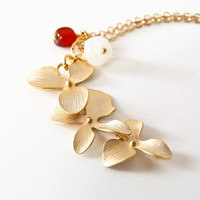 Gold Plated Flower Pendant Necklace with Red Agate and Rainbow Moonstone
