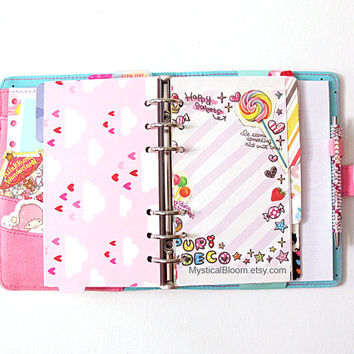 Cute Filofax Refills. Dessert Sweets theme. Personal Pocket Planner Size. Stationary Diary, Organizer Scheduler. Notes. Lollipops, cakes.