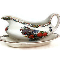 Antique Maddock and Sons, Gravy Boat and Underplate, 1890's, Vitreous China, Pheasant Bird Design, Orange, Black and Green, English China