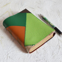 Patchwork leather journal stitched cover notebook sketchbook diary