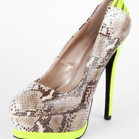 Tatum Snake and Neon Platform Heel in Brown :: tobi