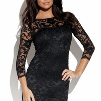 Black Lace Dress with Sheer Sleeves